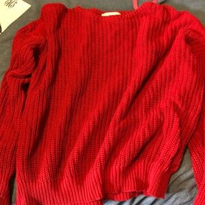 Fisherman pullover knit red sweater
